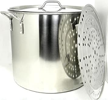 60 Quart Stainless Steel Stock Pot with Rack & Lid by Ballington ...