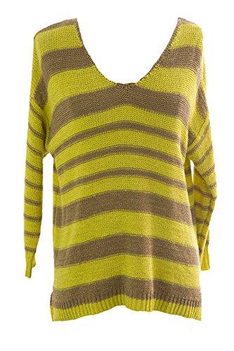 August Silk Women's Striped 3/4 Sleeve Raglan Sweater Large Candied Citron (3/4 Sleeve Silk Sweater)