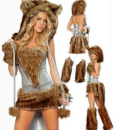Halloween Sexy Xsqr Marrón Ropa Piel De Lobo Look Grande Cola Vestido Cosplay Catwoman Wet XqUYp1wUBx