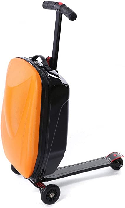 Luggage Scooter, 20 Scooter Suitcase for Airport Travel Business School (Orange)