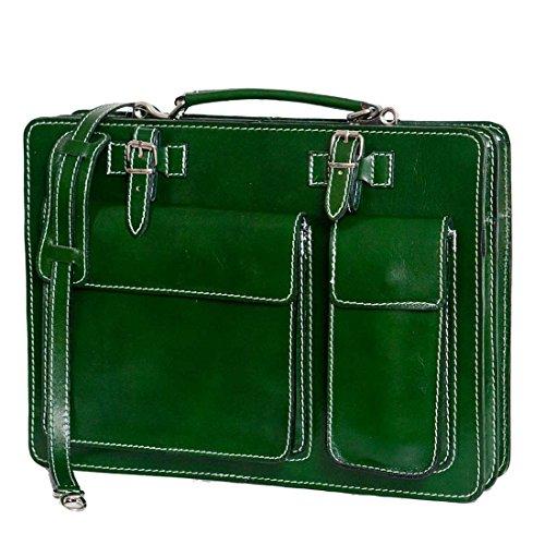 Italie avec portable p ordinateur mod sac Vert bandoulière UNISEX de 2027 business Fichier cuir w71Yq6K