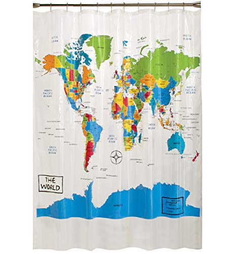 SKL Home by Saturday Knight Ltd. World Map Shower Curtain, 70x72 inches, Multicolored (Curtain World Fabric Shower)