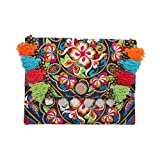 Changnoi Fair Trade Pom Pom Clutch/Ipad Holder with Hmong Hill Tribe Embroidered in Black
