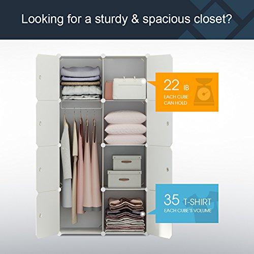 KOUSI Portable Clothes Closet Wardrobe Bedroom Armoire Dresser Cube Storage Organizer, Capacious & Customizable, White, 5 Cubes+1 Hanging Section