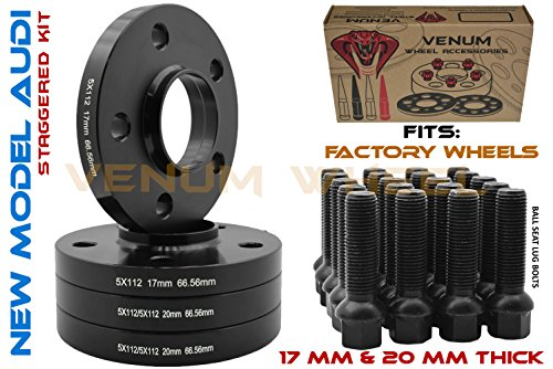 4pc Staggered Wheel Spacers 5x112 Audi 17 MM & 20 MM Thick 66.56 Hub Centric with Black Ball Seat Bolts 14x1.5 09-2019 A4 A5 A6 A7 A8 All Road S4 S5 S6 S7 RS5 RS7 Q5 SQ5 for Factory Wheels ()