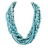 Multi-Strands Blue Magnesite Turquoise Bib Heavy Necklace 20.5'' N18081201L