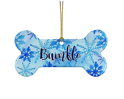 Caroline's Treasures KJ9001PDBO Snowflake Personalized Dog Bone Ceramic Ornament, Multicolor