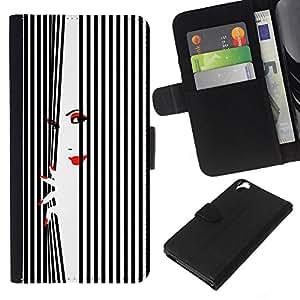 KLONGSHOP // Tirón de la caja Cartera de cuero con ranuras para tarjetas - Labios mujer Uñas Rojo Blanco Negro - HTC Desire 820 //