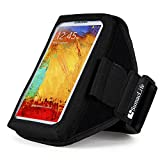SumacLife Nylon Xtra-Large Size Neoprene Smartphone Armband with Headphone Strap - Retail Packaging - Black