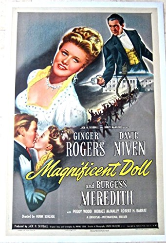 REDUCED 80 MAGNIFICENT DOLL '46 LB 1 SH ROGERS NIVEN IN HISTORICAL ROMANCE - Magnificent Doll Poster