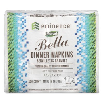 Marcal Bella Dinner Napkin (100% Premium Recycled Bella Dinner Napkins, 15 x 17, White, 3000/Carton, Sold as 1 Carton)