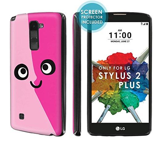 ([Nakedshield] Slim Flexi Case For [LG Stylo 2 Plus] [MS550 K530] [Black] Total Armor Rubber Gel Phone Case [Screen Protector]- [Pink Face] Print Design)