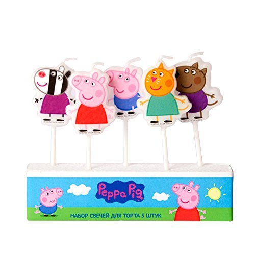 Peppa Pig Molded Pick Candle Set of 5 Birthday Party Supplies Cake Cupcake Topper -