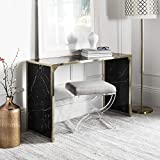 Safavieh Home Kylie Glam Black Marble and Brass