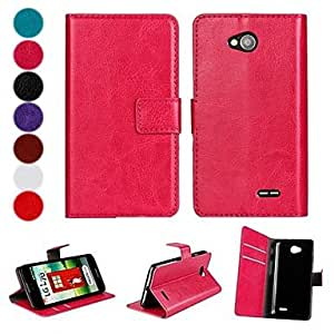 Solid Color PU Leather Full Body Case with Stand and Card Slot for LG L70 (Assorted Colors)