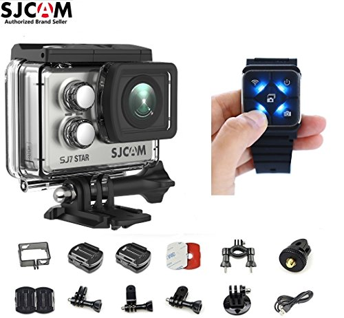 SJCAM SJ7 Star Kit {SJ7 Camera with Accessories, SJCAM Remote Watch} Real 4K Action Camera Wifi Waterproof Underwater Camera Ambarella Chipset 30FPS/Sony Sensor 12MP Gyro Stabilization-Silver