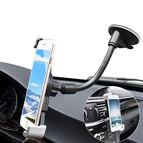 Cell Phone Holder for Car, Air Vent and Windshield Long Arm Car Phone Mount with One Button Design Car Holder for iPhone X/8/7/7P/6s/6P/5S, Galaxy S5/S6/S7/S8, Google, LG, Huawei and More -