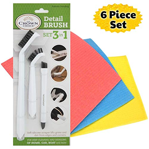Grout Detailing Brush Set and Sponge Cloth Set (6Pcs) | Deep Clean and Wipe Up Tile Lines, House, Counters, Kitchens, Car Detailing, Boats