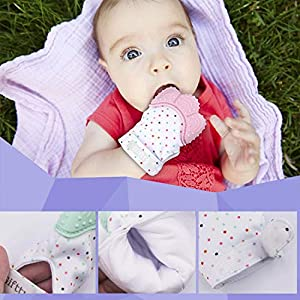Baby Teething Mittens Self Soothing Pain Relief Mitt, Stimulating Teether Toy, Prevent Scratches Protection Glove with Travel Bag, Stay on Baby's Hand, Unisex for 0-6 Months Baby (2 Mittens – Pink)