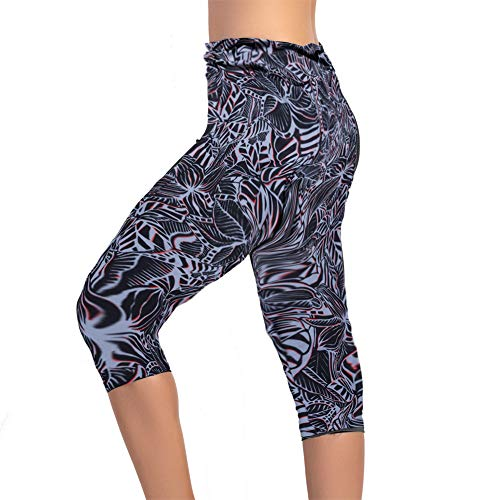 Women's Swim Pants High Waist Tummy Control Swimming Tights UPF 50+ Capris Built-in Liner Outdoor Sport Leggings (blackflower, US 10) ()