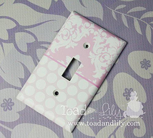Pink Damask and Polka Dots and Stripes Girls Bedroom Light Switch Cover LS0075 (Double Decora) Toad and Lily LS0075f