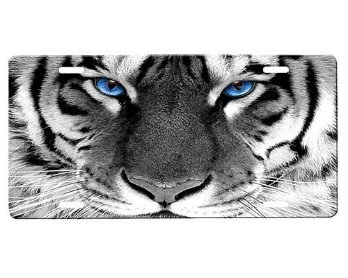 onestopairbrushshop Tiger Eyes License Plate Blue Airbrushed License Plates