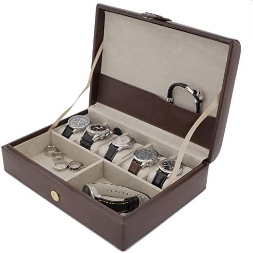 TSA3654BRN Valet Watches and Jewelry Box Storage Case Leather Brown