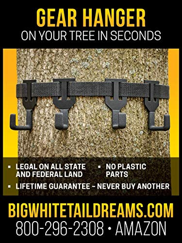 TREESTAND Gear Hanger - Coated Hangers to Eliminate Noise and Non Slip Strap Attachment - ON Your Tree in Seconds! - ONLY Gear Hanger with NO Plastic Parts (Best Crossbow For Whitetail Deer Hunting)