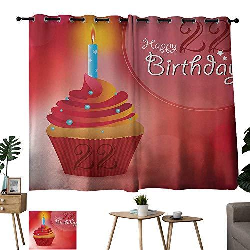 WinfreyDecor 22nd Birthday Simple Curtain Cute Cupcake with