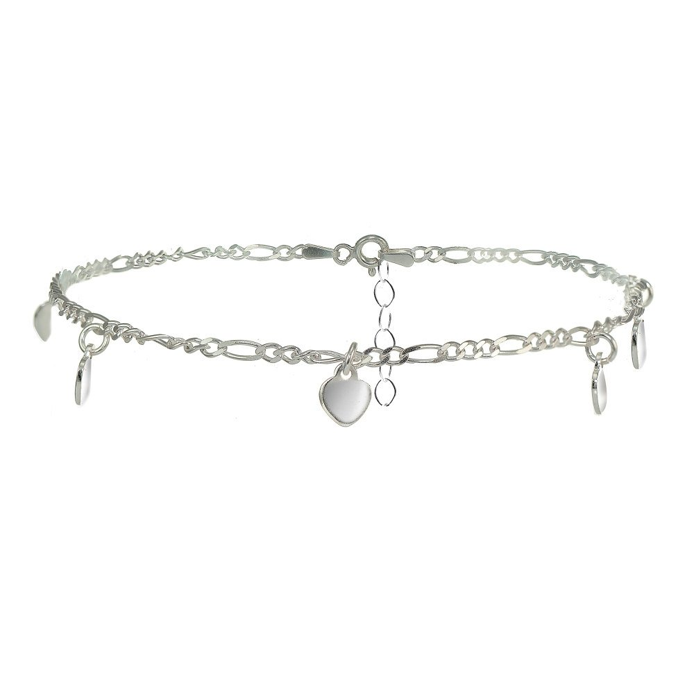 Sterling Silver Figaro Chain Anklet with Dangling Heart Charms