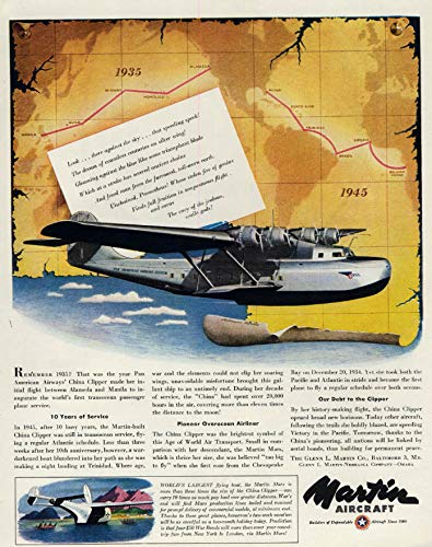 (Pan American Airways Martin M-130 China Clipper ad1945)