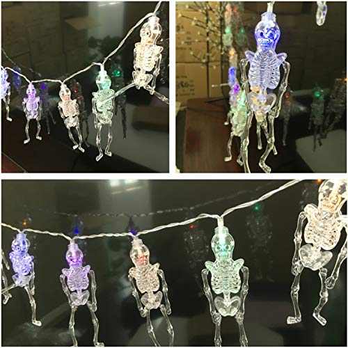 6.5ft 20 LED String Lights with Remote,Novel Skull Skeleton Style Fairy Lights for Fun Spoof Party Halloween Ghost Festival Haunted House-8 Mode,Timer,Dimmable,Waterproof,Outdoor Use-Colorful]()