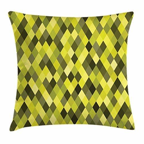 Funda de cojín de Color Amarillo Verde, diseño geométrico de ...