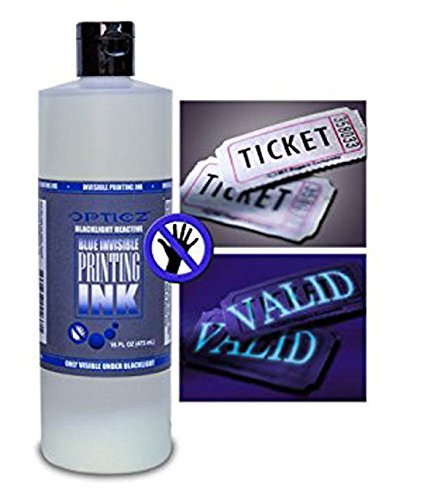 Opticz Industrial Invisible Blue UV Blacklight Reactive Ink (16 Ounce Bottle) ()
