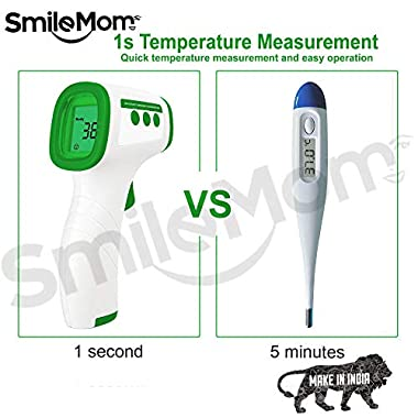 Smile Mom Digital Infrared Forehead Thermometer Gun for Fever, Body Temperature (Non Contact). Best for Kids, Adults. CE, ROHS, CNAS Certified 12
