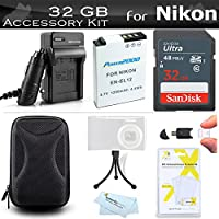 32GB Accessories Kit For Nikon COOLPIX S9900, A900, AW130, W300, S800c Digital Camera Includes 32GB High Speed SD Memory Card + Replacement (1200maH) EN-EL12 Battery + AC/DC Charger + Case + More