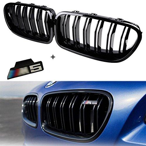 Ricoy per 2010 –  2014 berlina F10 F11 F18 M5 nero lucido anteriore Rene Twin pinne griglia 5 Series 520I 535I 550I come con emblema M5 (1 set)