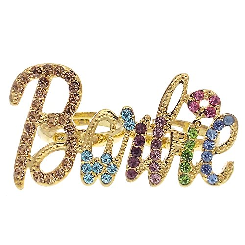 (Happygarden Barbie Doll Cocktail Rings Multi color Accessory Jewelry Ajustable Size (Gold))