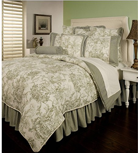 6 Piece French Country Inspired Pattern Comforter Set Cal King Size, Featuring Reversible Checkered Artful Garden Design Bedding, Stylish Classic Painting Themed Adult Bedroom Decor, Green, Beige