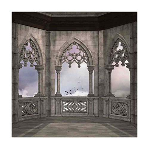 (iPrint Satin Square Tablecloth,Gothic,Medieval Stone Balcony with Curvings Graphic Design Mystic Middle Age Legend Story,Grey Lilac,Dining Room Kitchen Table Cloth)