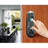 Assa Abloy Digi Weatherproof Electronic Digital Security Fingerprint and Keypad Keyless Door Lock 6600-98 home use (Satin Nickel Right Lever Handle)