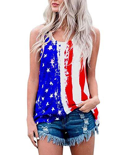 YIPWIN Womens American Flag Tank Tops Patriotic Shirts Casual Sleeveless Blouses