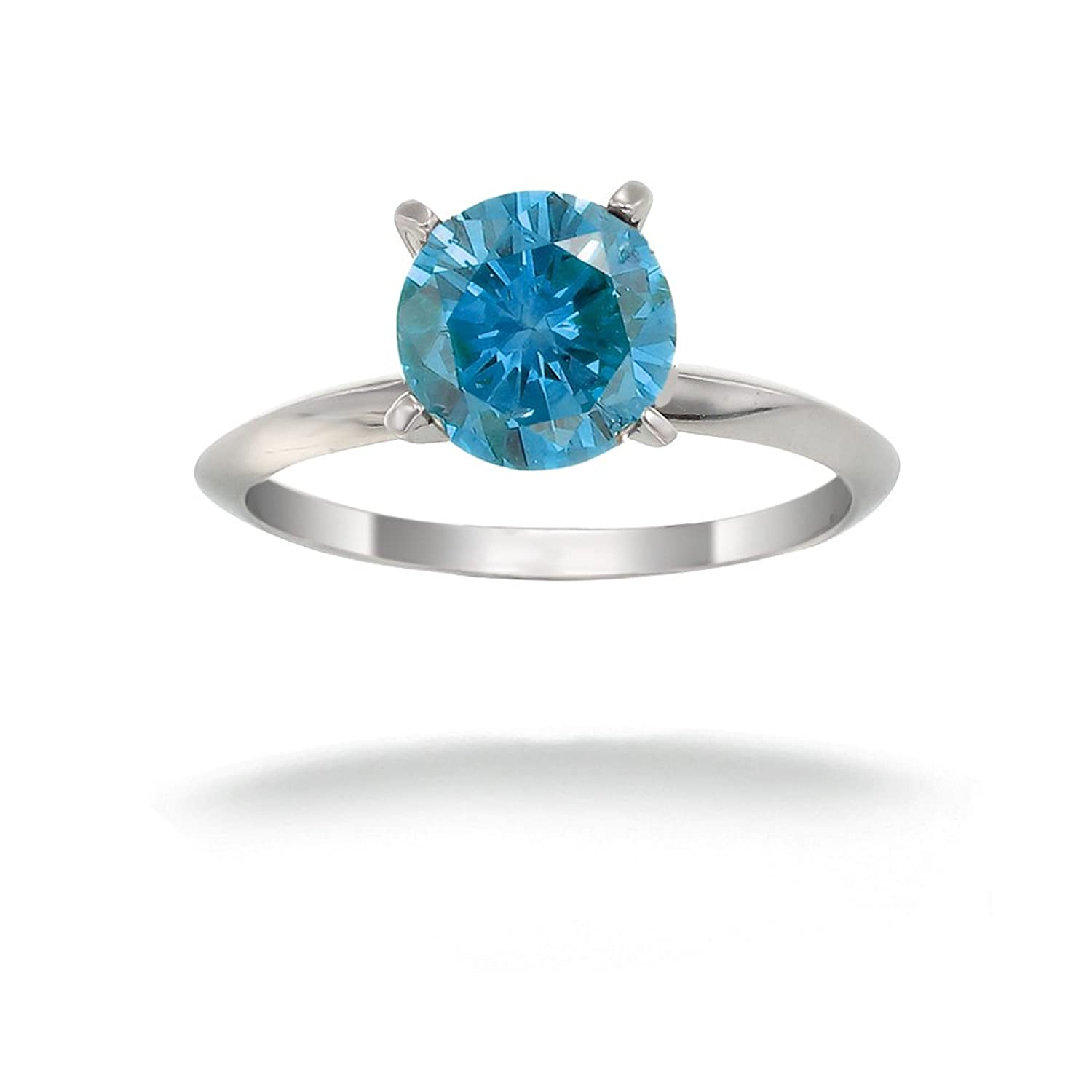 14K White Gold Blue Diamond Solitaire Ring 1 2 CT