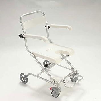 RAQ Silla de baño de aleación de aluminio con ruedas silla de ducha de silla de ruedas ancianos: Amazon.es: Hogar