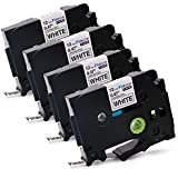 Fimax 4 Packs Standard Laminated Label Tapes Compatible For Brother P-Touch TZe-231 TZ231 TZe231 Black on White 0.47 Inches 26.2ft (12mm/8m)