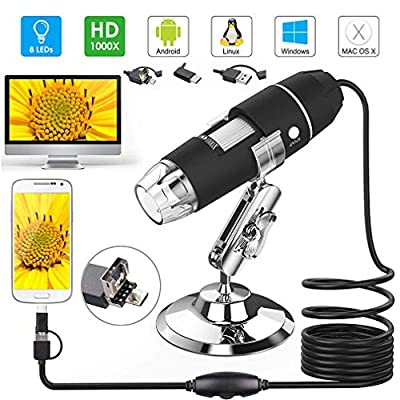 Comecall 3 in 1 USB/Android/Type-c Microscope Stereo Electronic Digital Microscope HD 0.3MP 1000X for Mac Android Windows Vista System