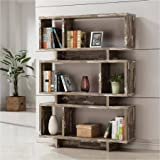"Bookcase / Bookshelves 3-Tier Salvaged Cabin Bookcase, Silver Finish (800846) 11.50"" x 47.25"" x 65.75"""