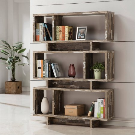 Bookcase / Bookshelves 3-Tier Salvaged Cabin Bookcase, Silver Finish (800846) 11.50'' x 47.25'' x 65.75'' by Coaster H.