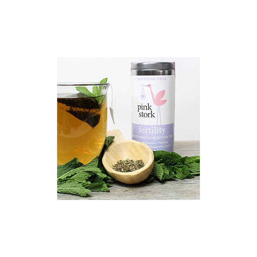 Pink Stork Fertility Tea: Sweet Mint Tea, USDA Organic, Support Female Fertility, Healthy Cycle, Hormone Balance, Biodegradable Sachets, 30 Cups