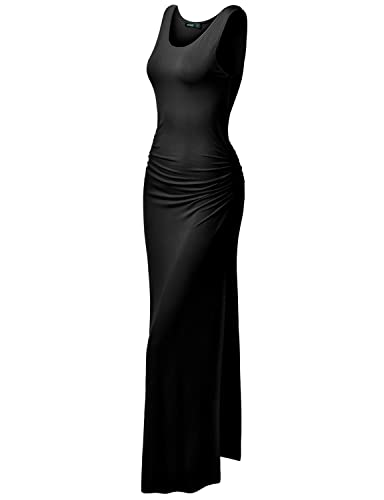 TWINTH Plus Size Maxi Dress Midi Dress Side Shirring Waist Sleeveless